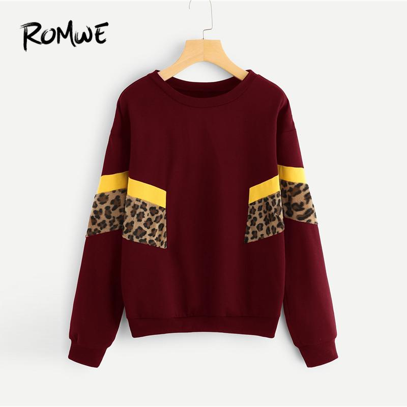 9a3f0cae8aa Color Block Leopard Panel Pullover 2019 Women Spring Autumn Casual Long  Sleeve Female Burgundy Round Neck Sweat Shirt