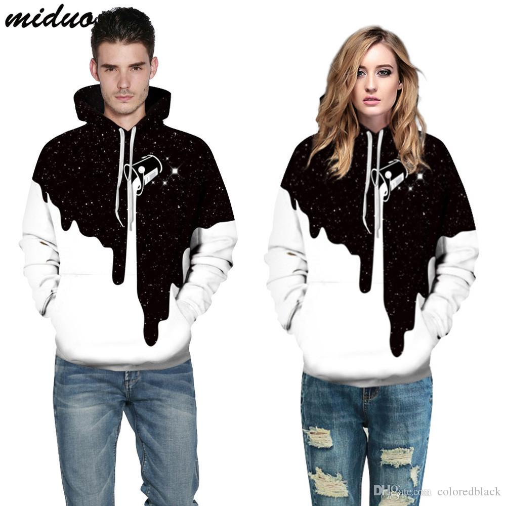 Personalized Star Milk Cup Digital Printing Pullover Sweatshirt Large size Hooded Hoodies For lovers Wholesale Fashion Clothing