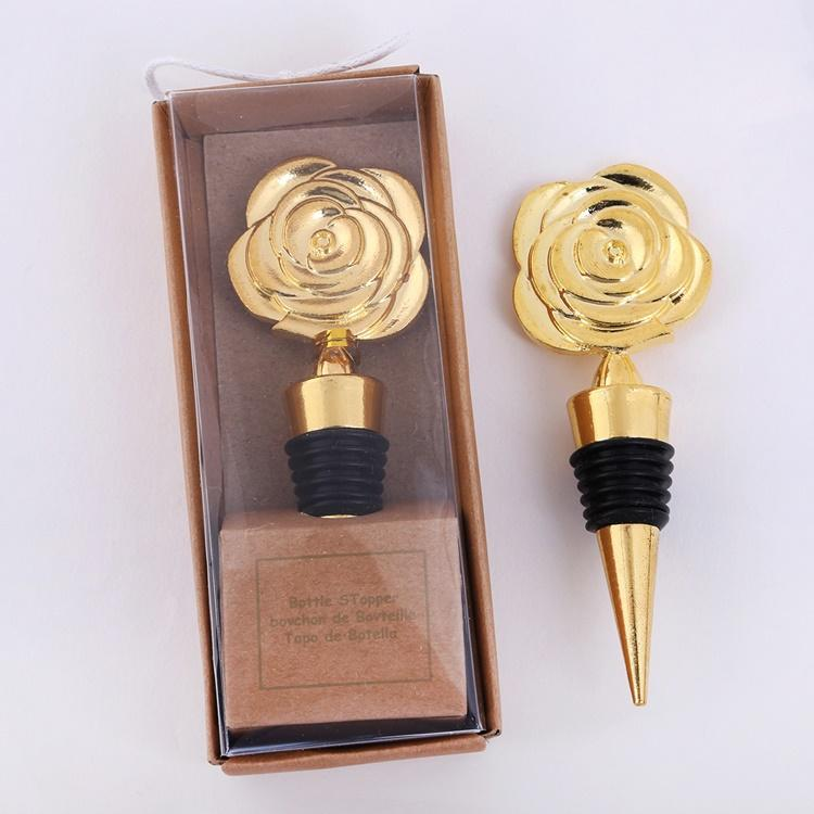 Gold Rose Wine Stoppers with Gift Boxes Rose Flowers Wine Bottle Stopper Wedding Giveaways Party Favors gift T2I5548