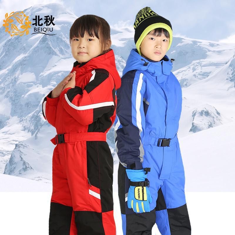 abd78210edc2 2019 Outdoor Winter Kids Girls Boys Ski Suit Set Waterproof Children ...