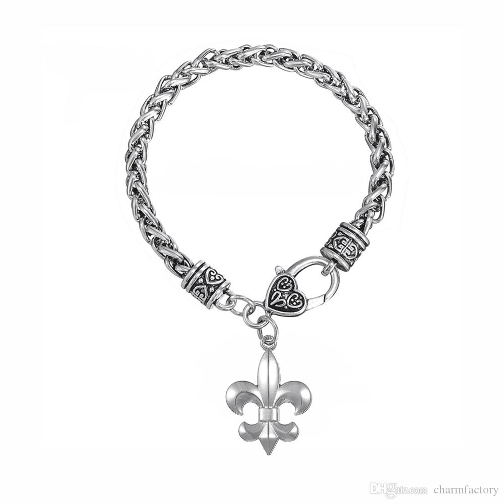 Fishhook Fast Shipping Zinc Alloy Royal Symbol Fleur De Lis Catholic Saints  LILY Crystal Pendant bracelet Jewelry