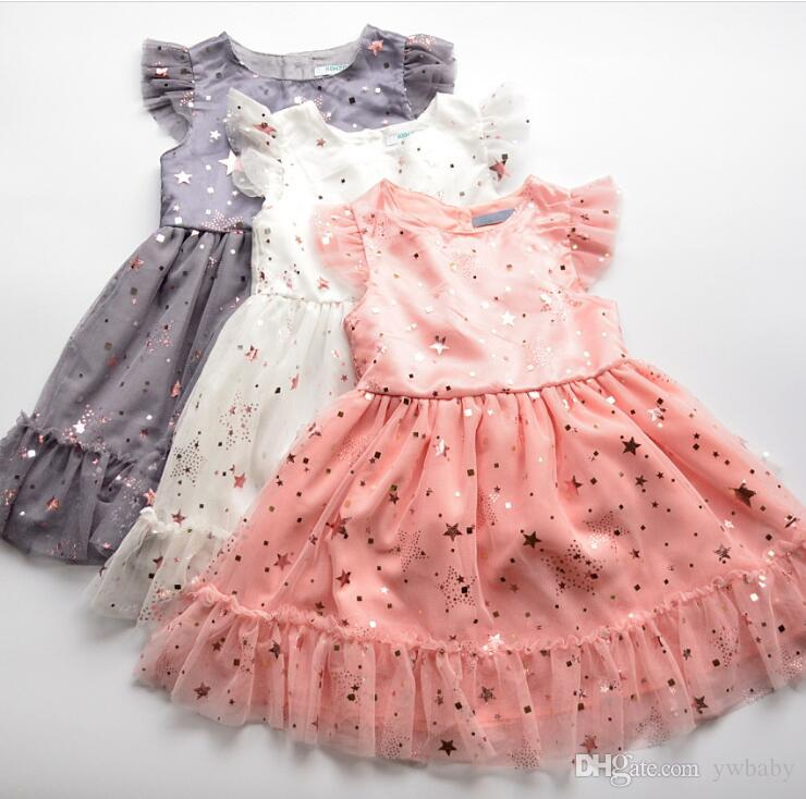 16bbab3bf8c3 2019 Spring Girl Tulle Lace Party Dress Sequined Stars Wedding Party Dress  Princess Sleeveless Shinny Dress Baby Clothes From Ywbaby, $73.33 |  DHgate.Com