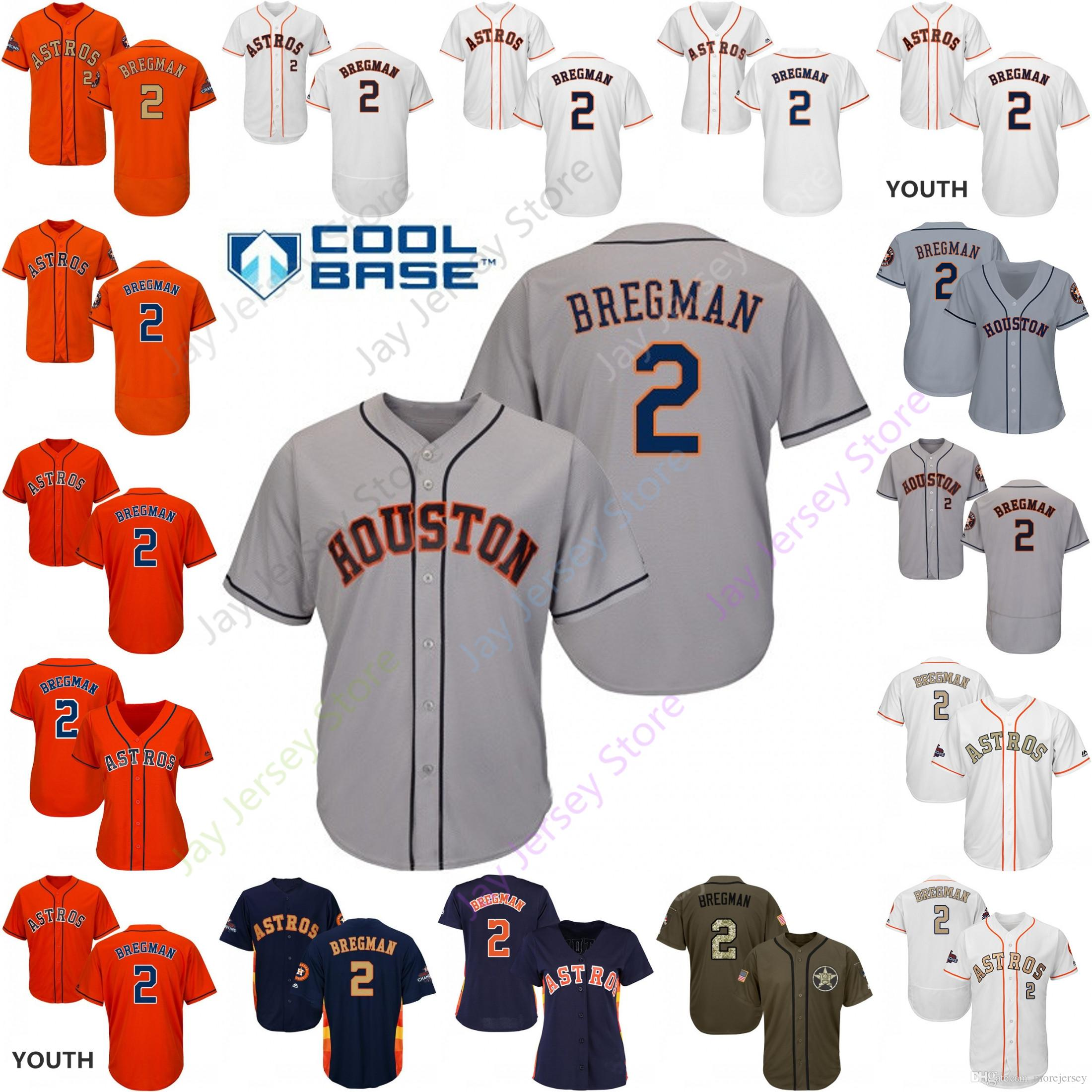 big sale 71db1 3990e 2019 Houston 2 Alex Bregman Jersey Astros Jerseys Cool Base Flexbase Home  Away White Black Red Grey Pullover Button Men Women Youth