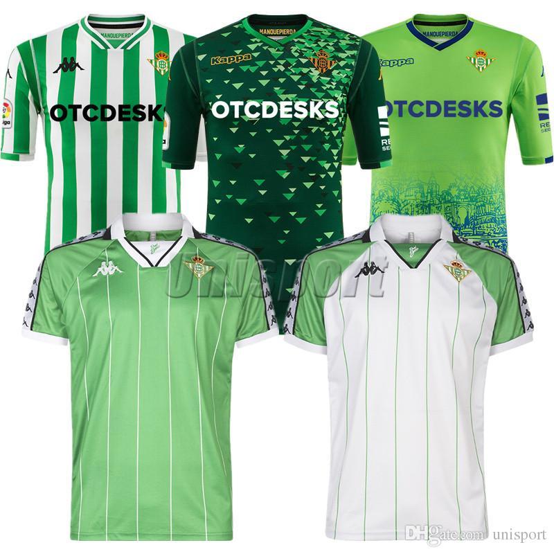 2018 19 Real Betis Camisetas De Fútbol Bartra Joaquín Tello Futbol  Camisetas Retro Fútbol Camisa Vintage Kit Kit Classic Maillot Por Unisport ceb35554a304a