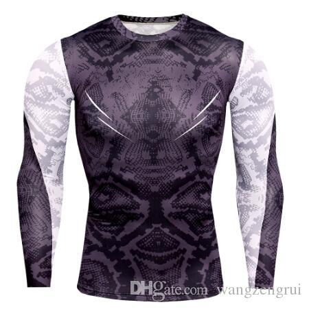 New Designer Mens Compression T Shirts Men Gyms Tight Undershirt Workout Tee Tops Snake Print Tshirt Muscle Fitness Shirt Men Rashgugard