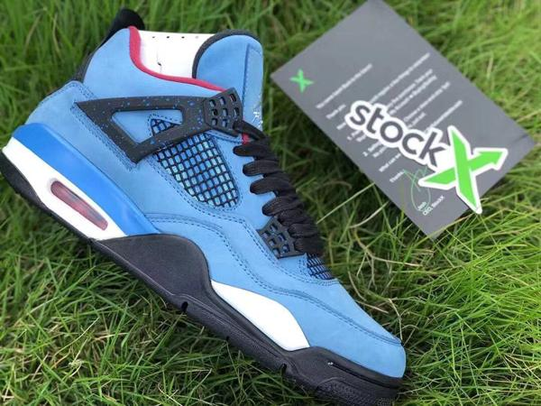 Stockx45 2019 Travis Scott X 4 Houston Oilers Blue Suede Black Man Basketball  Shoes Authentic Sports Sneakers With Original Box Size Us7 13 UK 2019 From  ... fafc6367f3