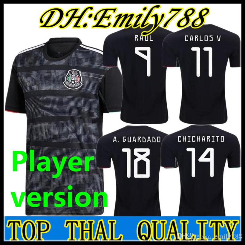 0a47894e7 2019 Player Version 2019 Mexico Soccer Jersey National Gold Cup Home Black  19 20 CHICHARITO LOZANO GUARDADO CARLOS VELA RAUL Football Shirts From  Emily788