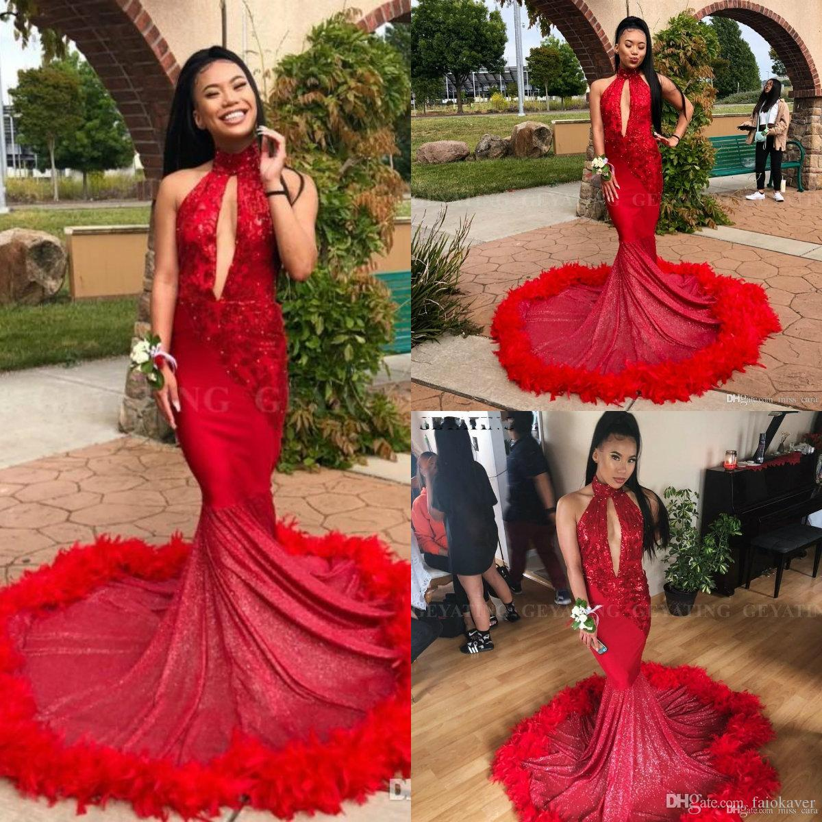 96415dc0fa 2019 Sexy Mermaid Prom Dress Long Train Red Feather Sparkly Sequins  Appliques High Neck Evening Gowns African Graduation Party Dresses Mint  Green Prom ...