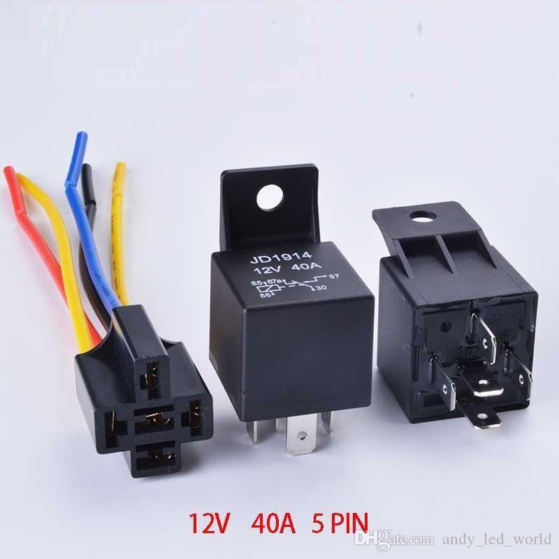 5 Unidades DC 12V 40A AMP JD 1914 Relé Socket SPDT 5 Pin 5 Cable 12V JD1914 Para Auto Car Truck Accesorios