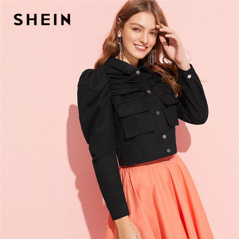 d7048ee8d39e2 Black Classy Button Up Flap Pocket Puff Sleeve Ruched Women Jacket Spring  Cotton Solid Single Breasted Cropped Jacket C19041001 Coat Jacket Fur  Leather ...