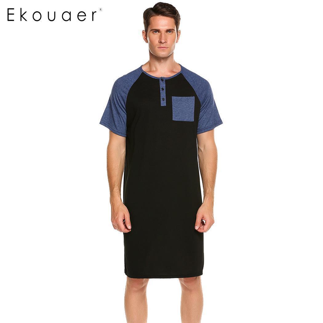 0b6ec72c7e Ekouaer Men Long Nightshirt Sleepwear Short Sleeve Nightwear Night ...