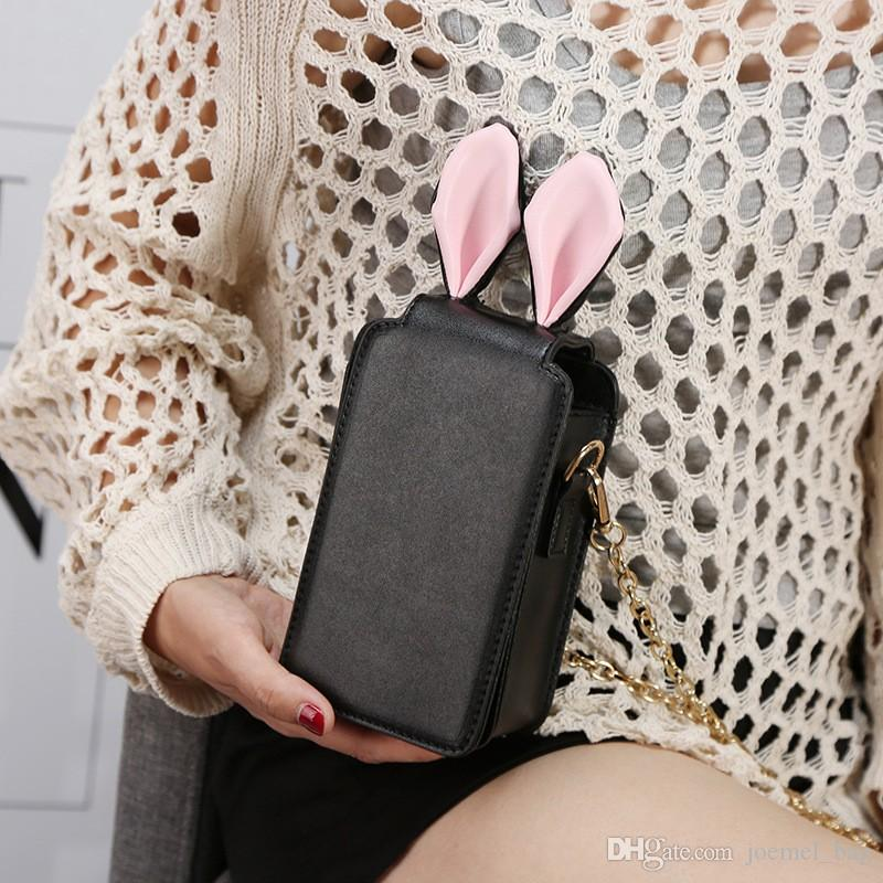 New Rabbit Ear Wallet Long Cute Cartoon Student Zipper Wallet Handbag  Mobile Bag
