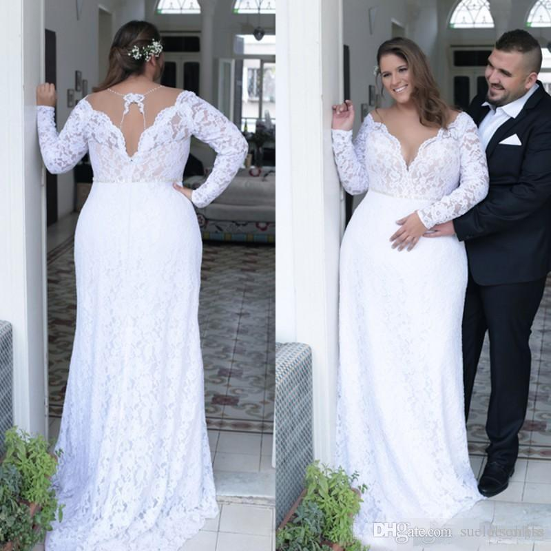 Plus Size Long Sleeves Lace Wedding Dresses Sheer Neck Plunging Sweep Train Sweep Train Crystal Wedding Bridal Gown vestido de novia