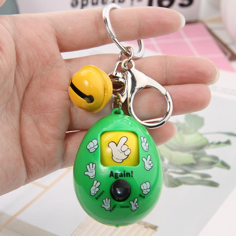 2019 New Mixed Family Mora Games Keychain Rock Paper Scissors Play Toy Key Chain Face Dolls Keychains Round Egg Keychain