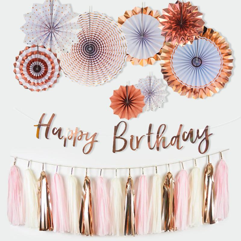 Rose Gold Decor Paper Fans Happy Birthday Banner Tissue Tasssel Garland For Party Favor Wedding Casino Decorations