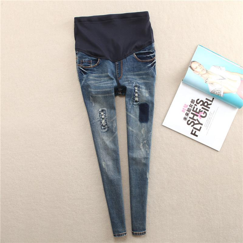 Maternity Jeans For Pregnant Women Spring Autumn Clothes Stretch Denim Hole Nursing Pants For Pregnancy Belly Pencil Trousers