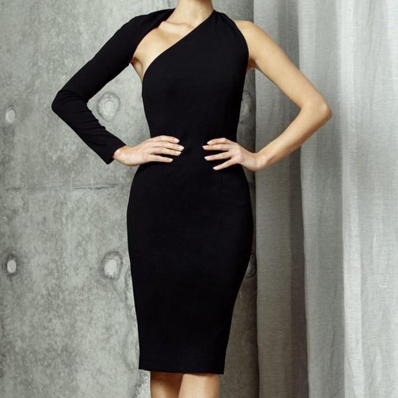 343c40f06ea Temperament Commuter Women Dress Solid Color Single Shoulder Long ...