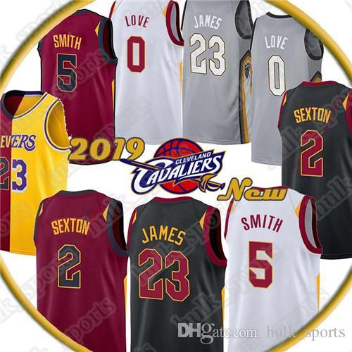 on sale 74b80 82bfe 23 LeBron James jersey Kevin 0 Love jerseys JR 5 Smith Collin 2 Sexton  Basketball Jerseys