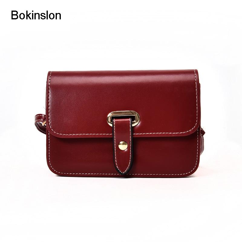 4be79f3b28 Bokinslon Women Small Square Bag Vintage PU Leather Solid Color Fashion Bags  Woman Temperament Popular Female Crossbody Bags New Luxury Handbags Leather  ...