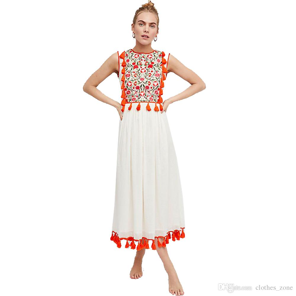67e06968e Compre Mejor Bohemio   Vestido De Playa Blanco Negro Floral Bordado Elegante  Vintage Borlas Sin Mangas Party Lady Vestidos Casuales A  78.4 Del  Clothes zone ...