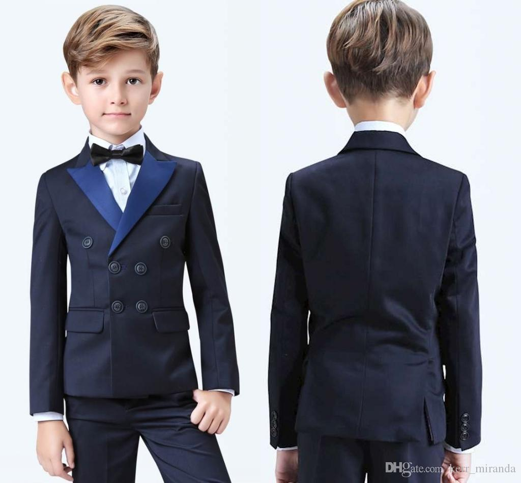 Stylish Popular Double-Breasted Peak Lapel Kid Complete Designer Handsome Boy Wedding Suit Boys Attire Custom-made (Jacket+Pants+Bow+Vest)