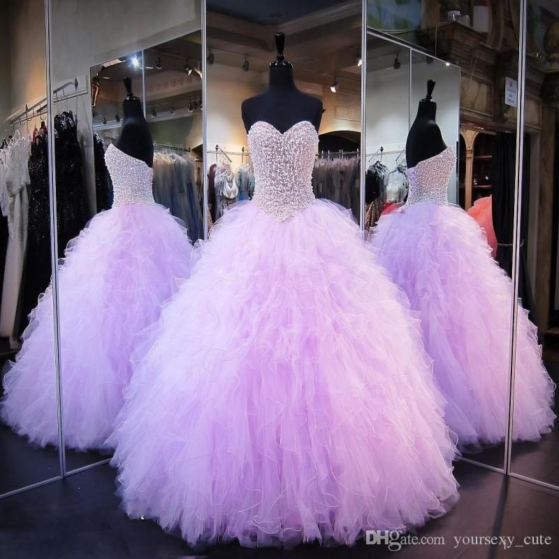 2b5fbcaeace Ball Gown Lavender Girls Pagean Dresses Crystals Pearls Ruffles Tulle Lace  Up Back Yong Girls Birthday Dress Sweetheart Quinceanera Dress Toddler  Flower ...