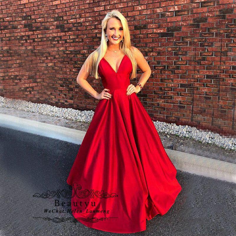 e4192ca356179 Red Satin Prom Dresses Sleeveless V Neck Puffy A Line Plus Size Long Women  2019 Formal Party Dress Cheap Vestidos De Fiesta B Darlin Prom Dresses  Backless ...