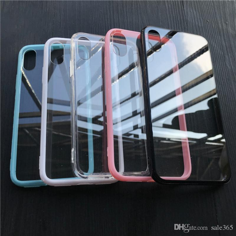 Clear Hard Back Jelly Bumper Frame Dustproof Plug Case For iphone 7 8 Plus 6 6S X Xs Max Xr 5 5S SE
