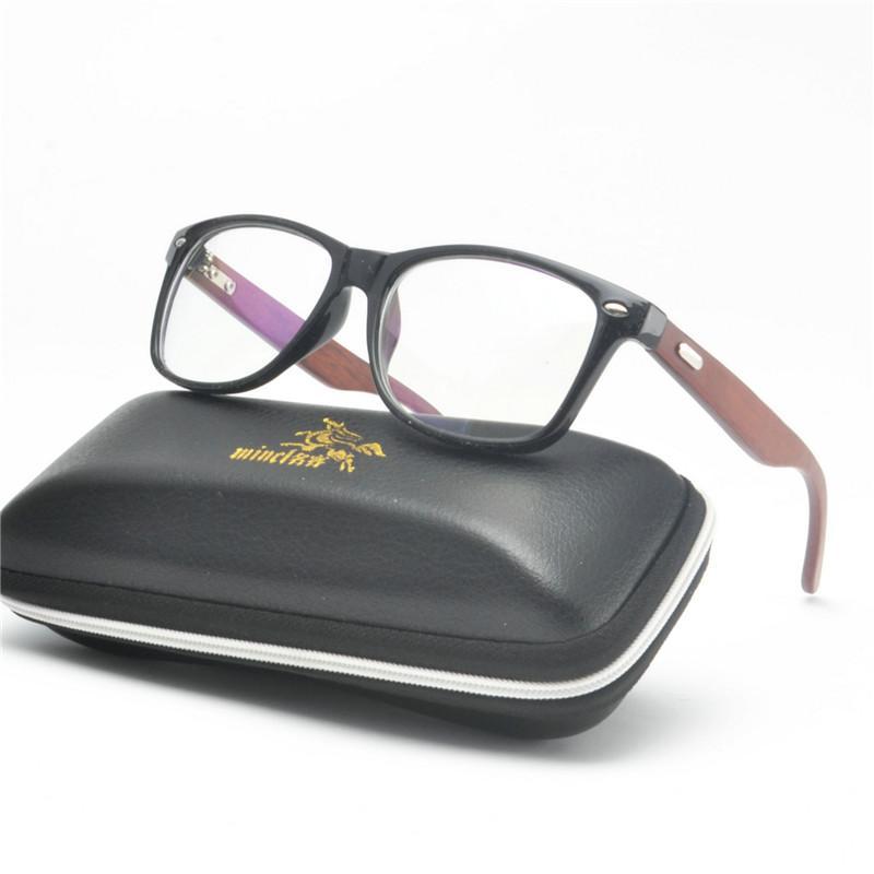 bc7ade3795b MINCL Square Glasses Men Women Unisex Imitation Wooden Pattern ...