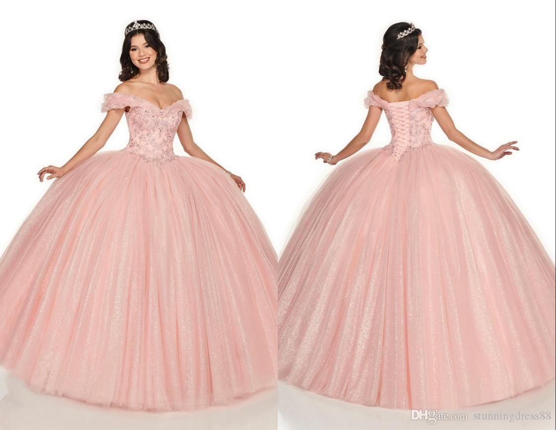 4ffc4ca6b2eb Princess Blush Pink Cheap Quinceanera Prom Dresses Ball Gown ...