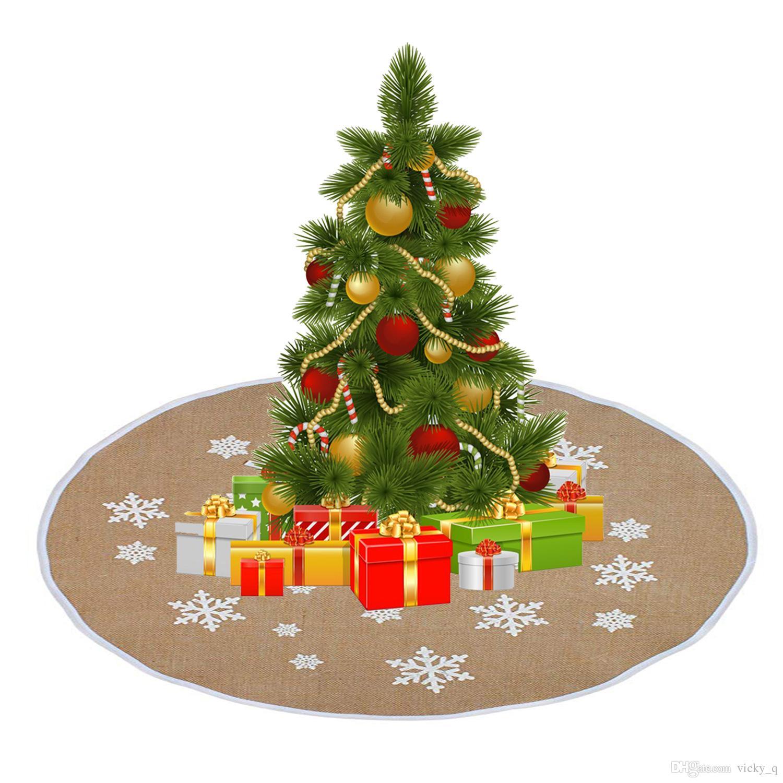 Durchmesser Weihnachtsbaum.Durchmesser 120 Cm Weiße Schneeflocke Gedruckt Sackleinen Weihnachtsbaum Rock Vintage Dekoration Für Haus Party Einkaufszentrum Schaufenster Liefert