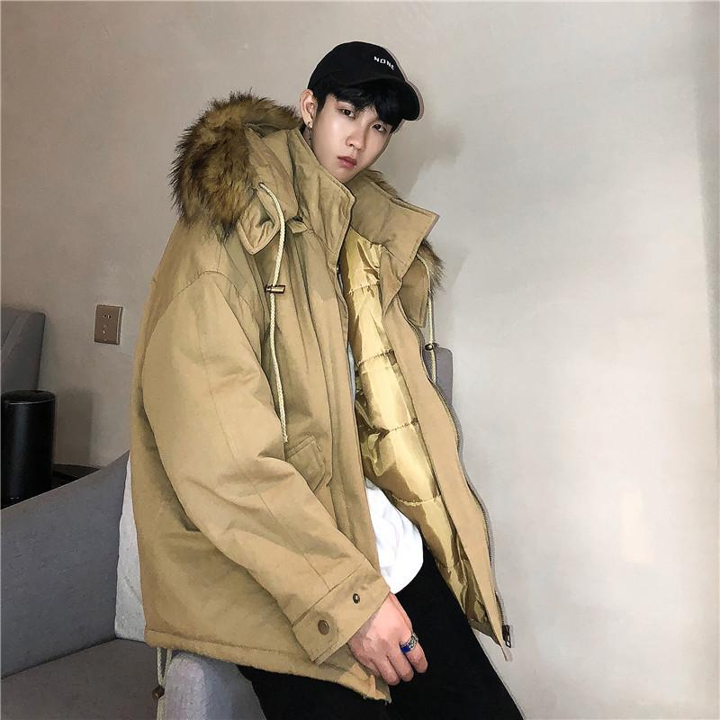 5cf8df420f6cf 2019 2018 Winter New Big Fur Collar Cotton Suit Male Korean Version ...