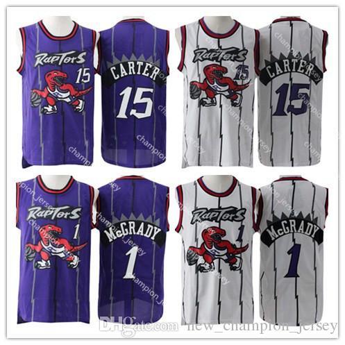 38a3e081e Men s Vince 15 Carter Tracy 1 McGrady Basketball Jersey Embroidery ...