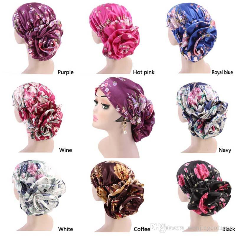 Women Floral Lace Turban Hat India Cap Muslim Hats Hairnet Chemo Cap Flower Bonnet Beanie Islamic Clothing Novelty & Special Use