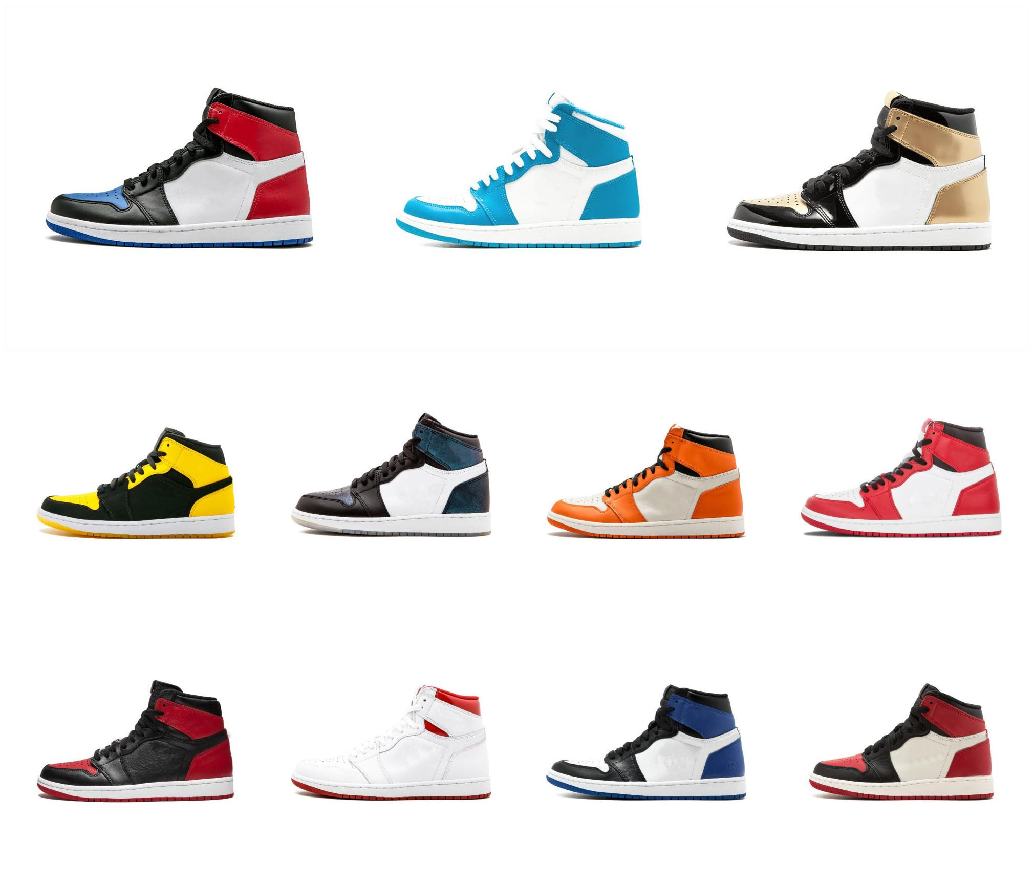 1s Mid OG 1 Top 3 Mens Basketball Shoes Wheat Gold Bred Toe Chicago Banned Royal Blue Fragment UNC Rebel Sneakers Sports trainers Shoes