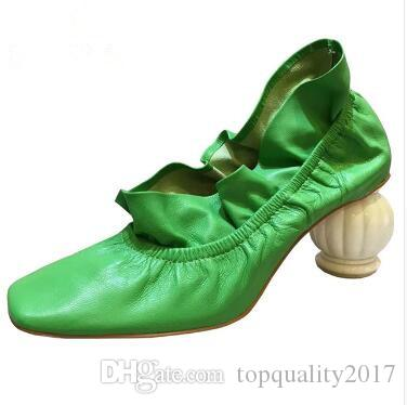 6fcb378106c 2019 New strange high heel show design shoes women pumps ruffles green  yellow genuine leather fashion lady shoes
