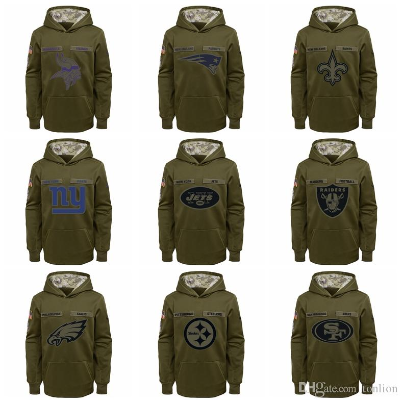 newest collection 11976 7a8a1 New 2019 Sweater Hot Sale YOUTH Vikings Patriots Saints Giants Jets Raiders  Salute to Service Sideline Performance Pullover Hoodie