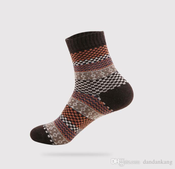 4cfd20a2a929c 2019 Mens Soft Thick Angora Cashmere Casual Rabbit Wool Blend Warm Winter  Woolen Socks Jacquard Stripe Design Warmer Sock For Adult Men Women From ...