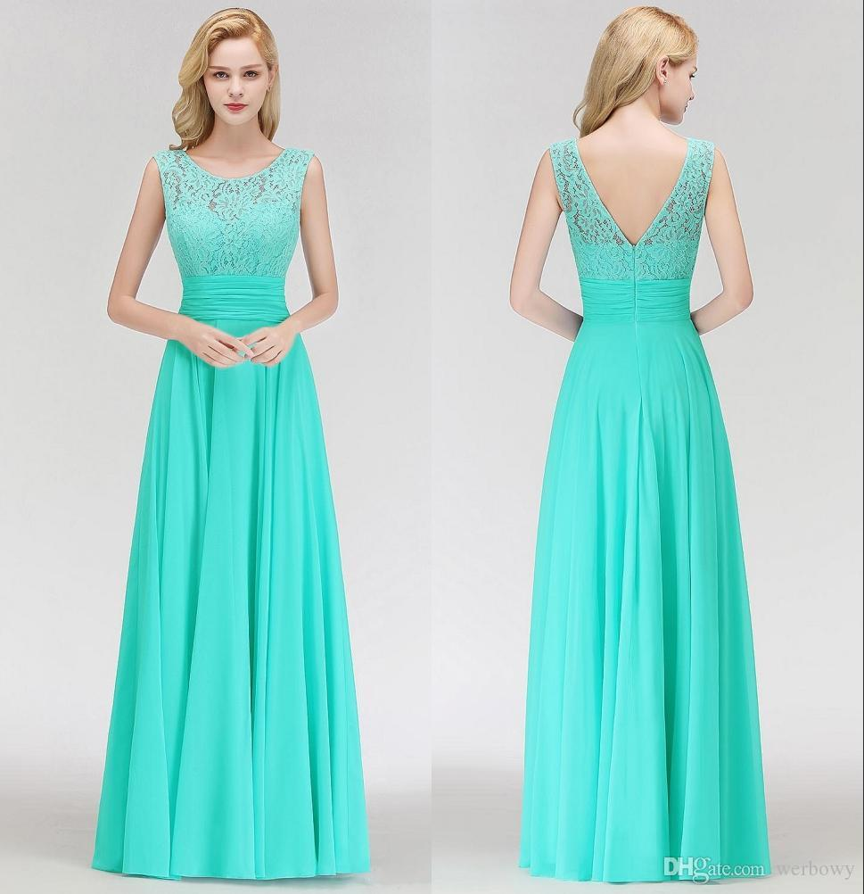 0aae87f80f1c Turquoise Floor Length Chiffon Country Long Bridesmaid Dresses Lace Top  Flowy Wedding Guest Maid Of Honor Dress Simple Formal Occasion Gown  Chocolate Brown ...