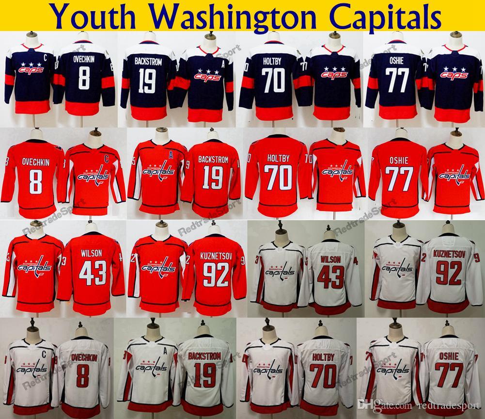 hot sale online 997cc b3e74 Youth 2018 Stadium Series Washington Capitals 77 TJ Oshie 8 Alex Ovechkin  70 Holtby 92 Kuznetsov 19 Backstrom 43 Tom Wilson Hockey Jerseys