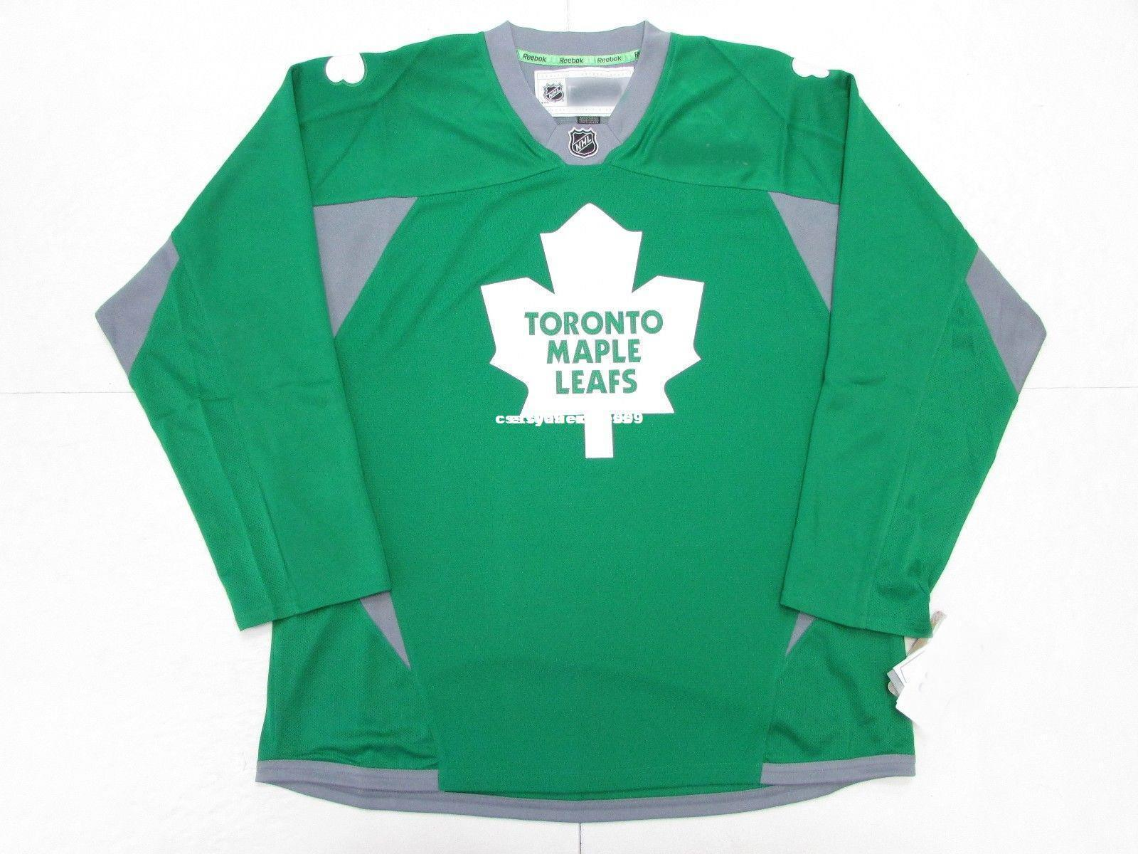 new styles 9b632 13776 Cheap custom TORONTO MAPLE LEAFS ST. PATRICK'S DAY GREEN PRACTICE HOCKEY  JERSEY stitch add any number any name Mens Hockey Jersey XS-6XL