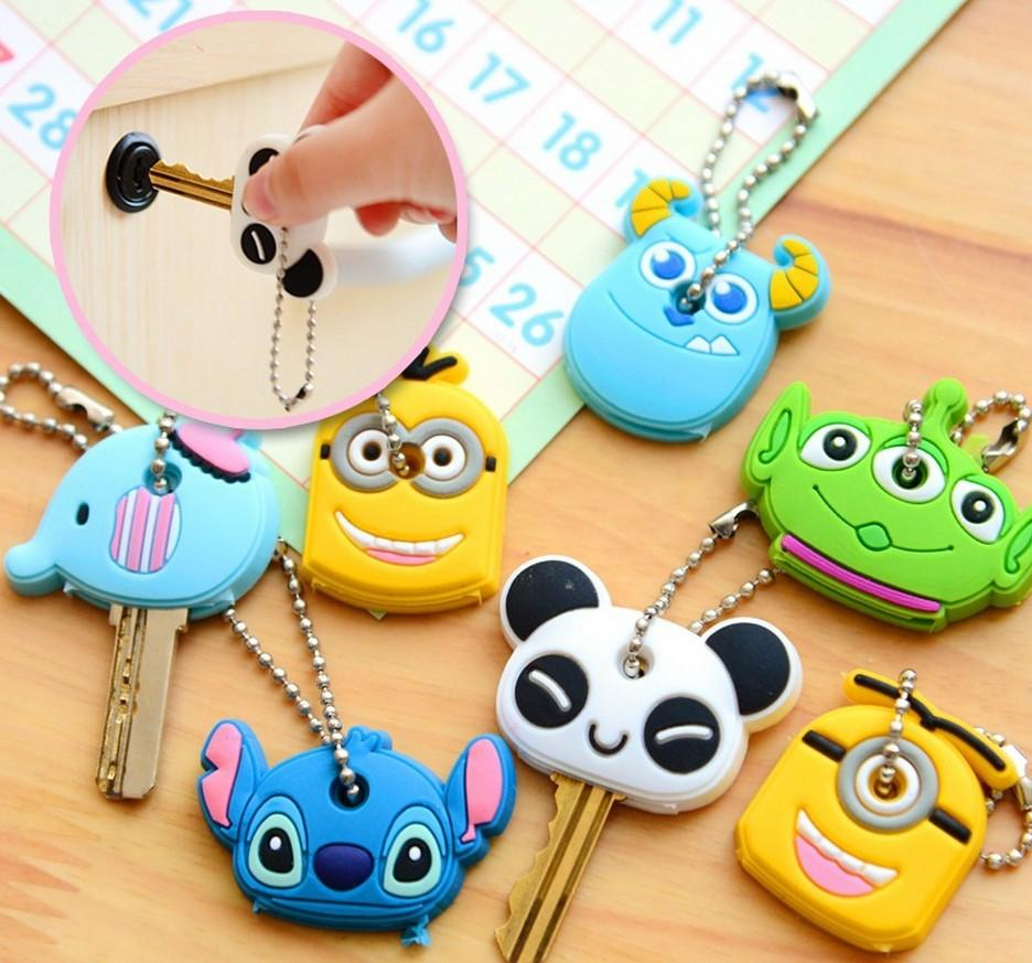 Cute Cartoon Keychain Key Ring Gift for Women Girls Bag Pendant PVC Figure Charms Car Key Rings Jewelry Porte Clef