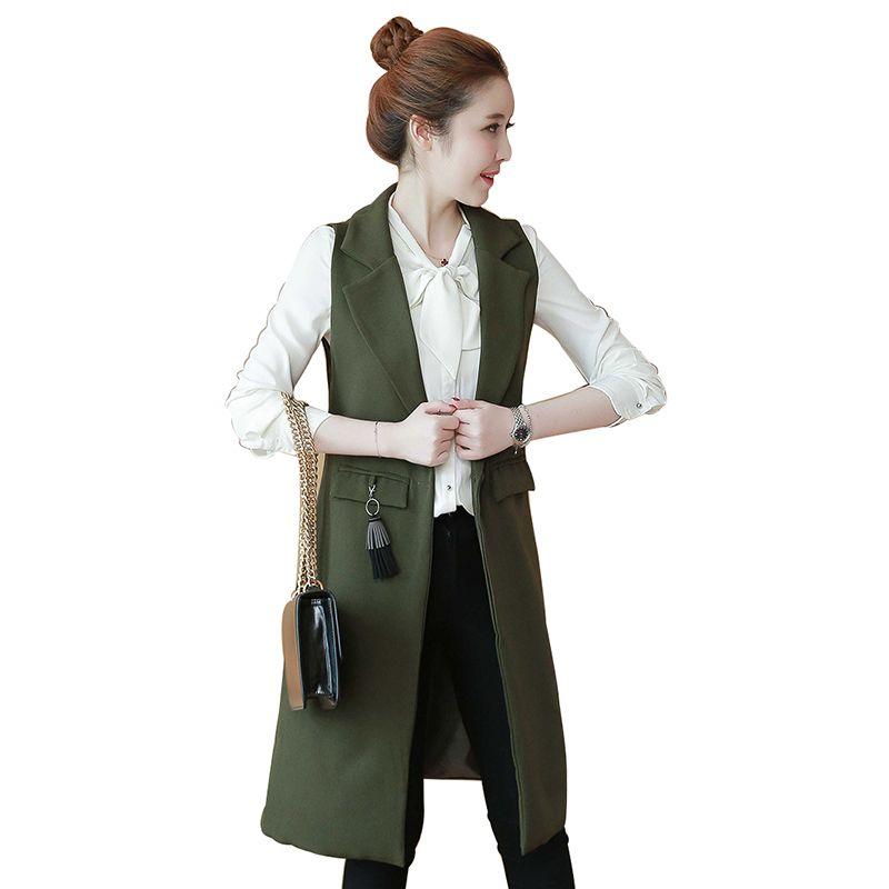 02c6aab711d High Fashion Autumn Women s Vest Slim Long Female Vests Green Waistcoat  Winter Tassel Pendant Sleeveless Coat Jacket Black Coat