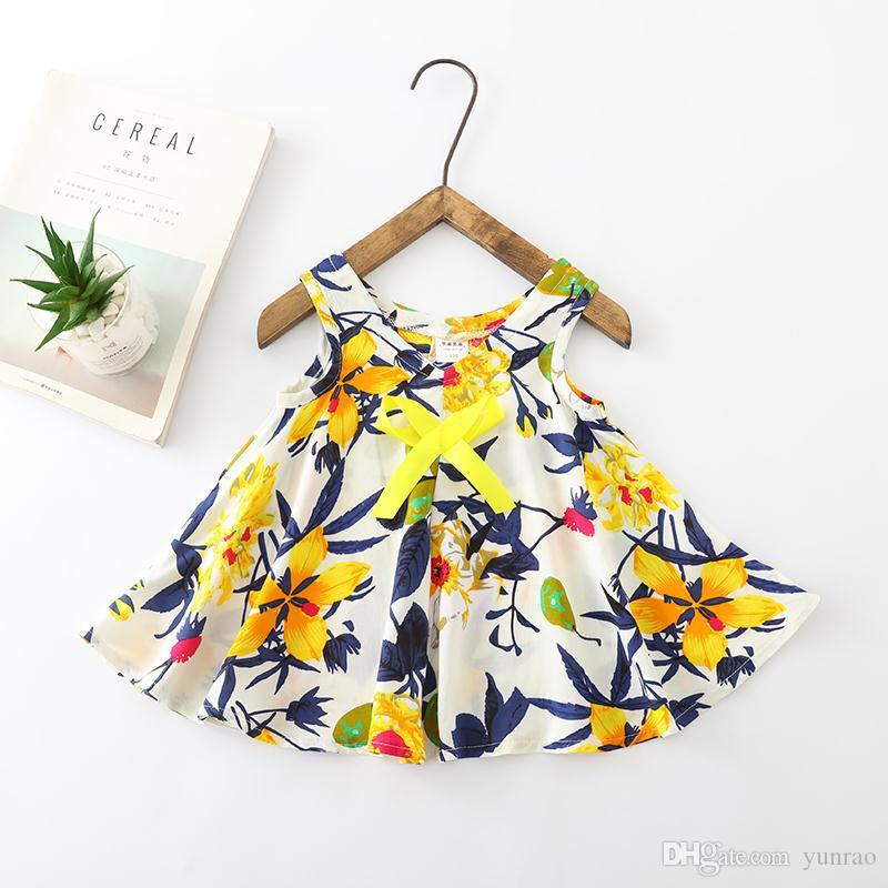 Floral Girls Dress baby girl clothes fashion 2019 kids girls clothing Summer beach Dresses 0-3 years old