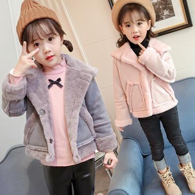 7599f65f0 New Fashion Autumn Winter Baby Girls Warm Coat Children Suede Fleece ...