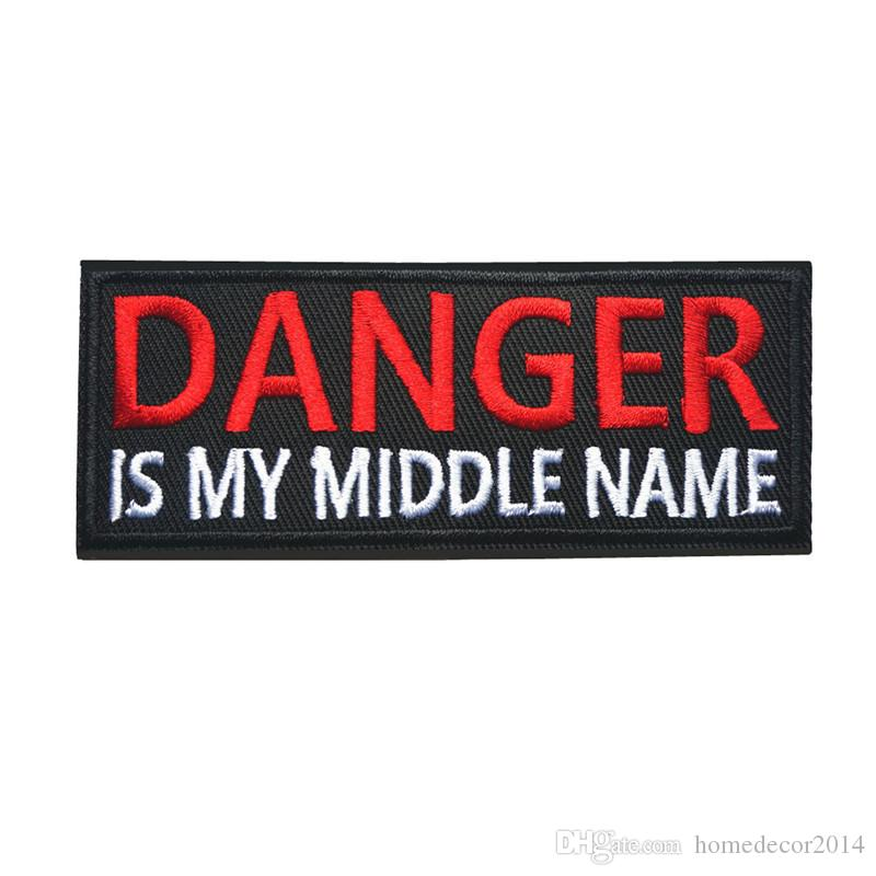 Embroidered Letters Sew Iron On Patches Danger Is My Name Badges For Dress  Bag Jeans Hat T Shirt DIY Appliques Craft Decoration