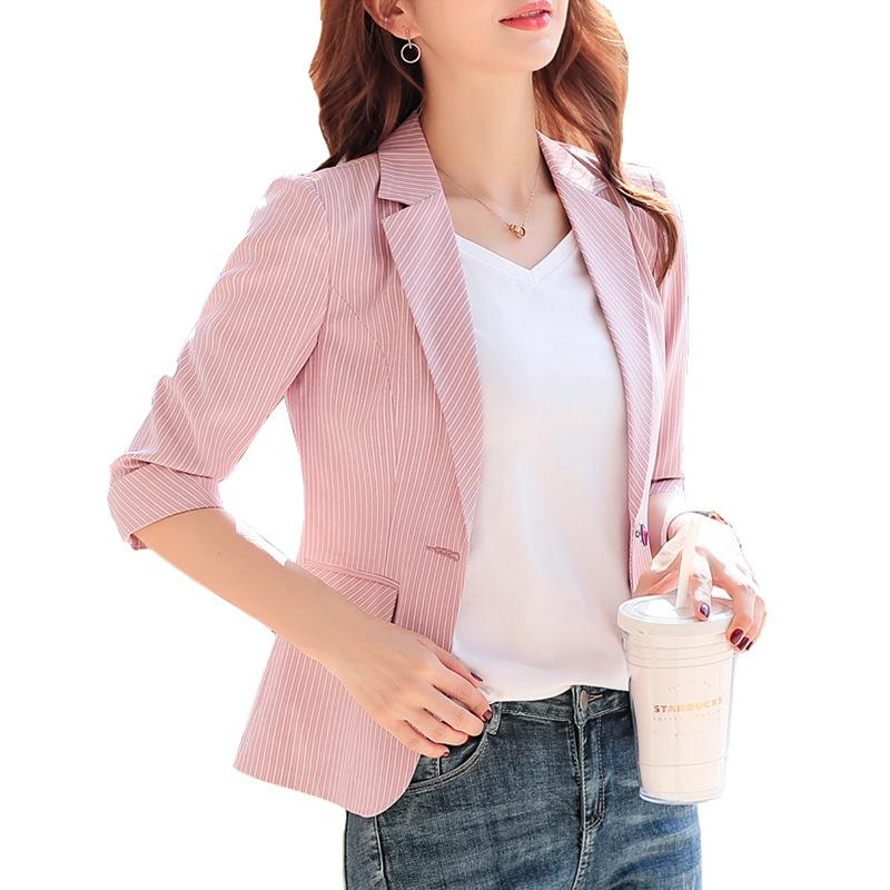 mitad de descuento 100% de alta calidad material seleccionado Blazer Mujer 2019 Striped Small Suit Jacket Female Spring and Summer  Professional Wear Thin Casual Suit Bleser Femenino