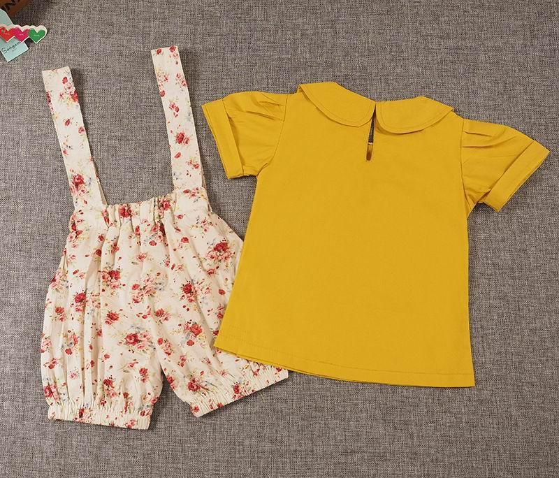 79bf25caa01e3 2019 Retail Summer Girls Clothing Sets Short Sleeve Mustard Yellow Shirt+Overalls  Shorts Floral Kids Outfits Children Clothes E16208 From Mindai