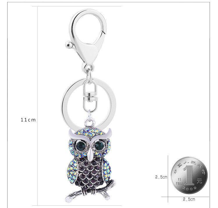Lovely Owl Crystal Keychains Fashion Animal Keyrings For Car Women Alloy Purse Bag Charm Key Chain Ring Holder Wholesale