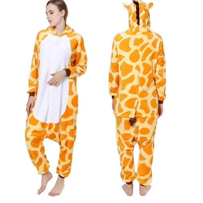 42d09101cb 2019 Winter Thick Flannel Lovers Pajamas Animals Giraffe Hooded Women Men Onesie  Pyjamas Unisex Warm Sleepwear Cosplay Plus Size From Hilery